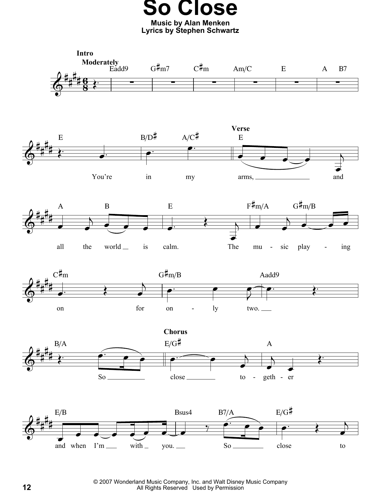 Alan Menken So Close Sheet Music Notes, Chords   Download Printable Flute  Solo PDF Score   SKU 15