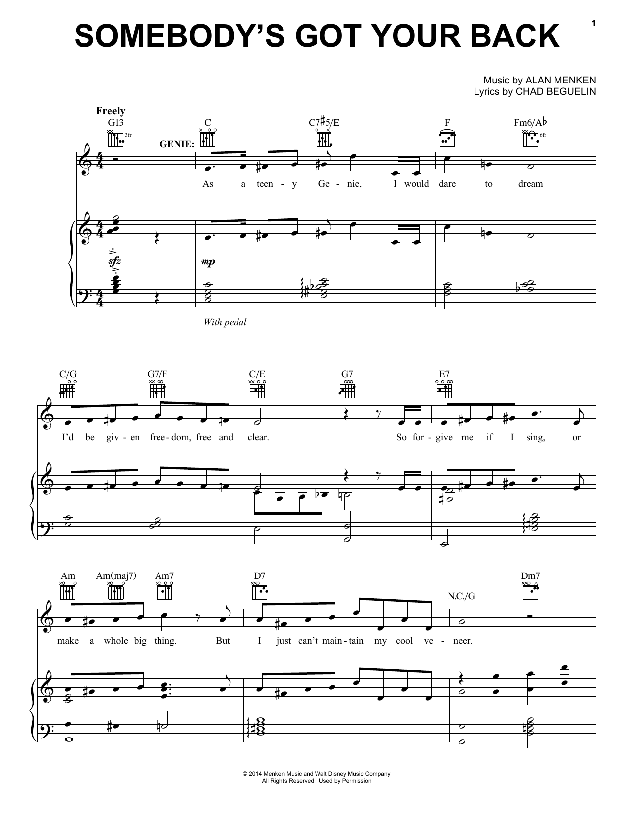 Alan Menken Somebody's Got Your Back (from Aladdin: The Broadway Musical) sheet music notes and chords