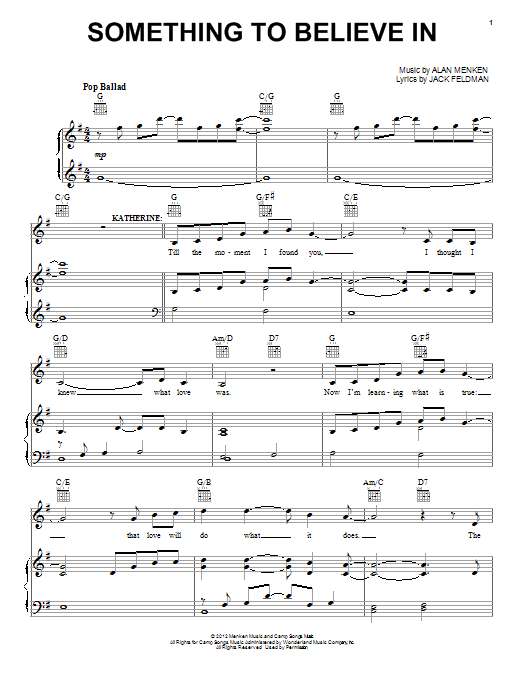 Alan Menken Something To Believe In (from Newsies) sheet music notes and chords. Download Printable PDF.