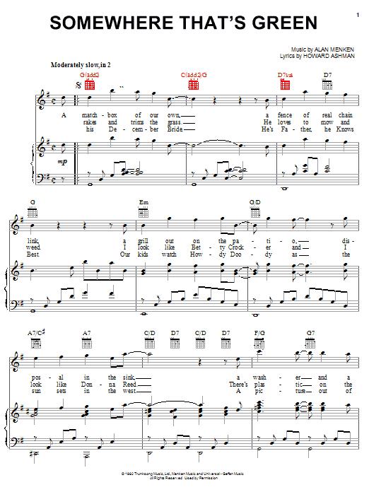 Alan Menken Somewhere That's Green sheet music notes and chords