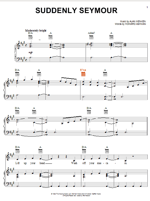 Alan Menken Suddenly Seymour (from The Little Shop Of Horrors) sheet music notes and chords