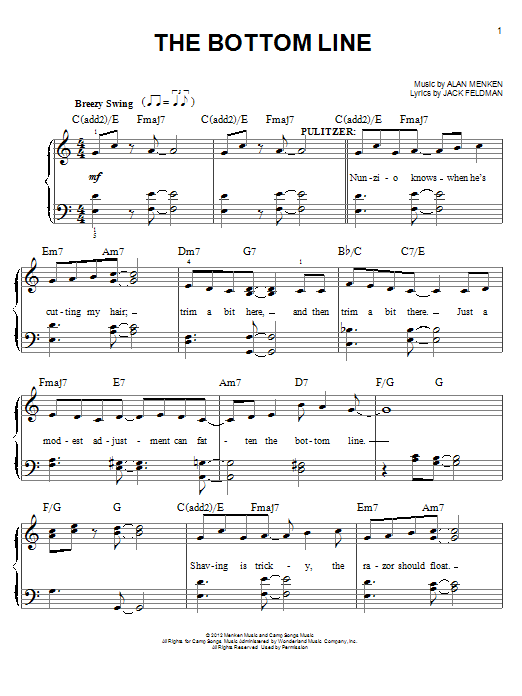 Alan Menken The Bottom Line (from Newsies) sheet music notes and chords. Download Printable PDF.