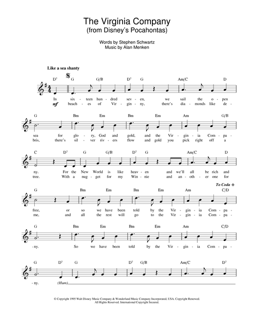 Alan Menken The Virginia Company (from Pocahontas) sheet music notes and chords
