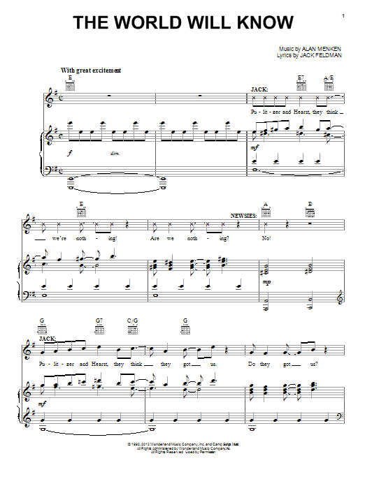 Alan Menken The World Will Know sheet music notes and chords. Download Printable PDF.