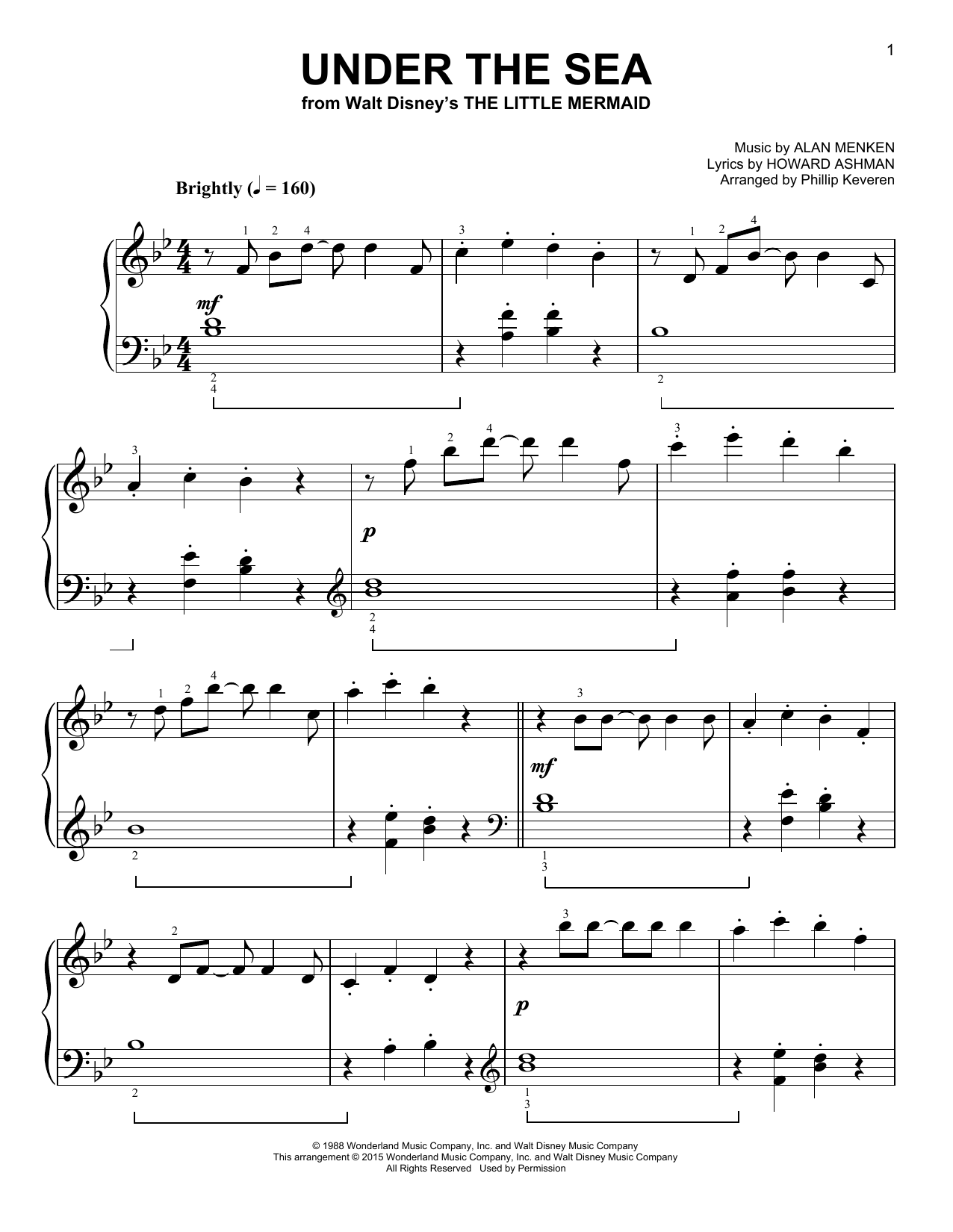 Alan Menken Under The Sea Classical Version From The Little Mermaid Arr Phillip Keveren Sheet Music Pdf Notes Chords Children Score Piano Solo Download Printable Sku 66991