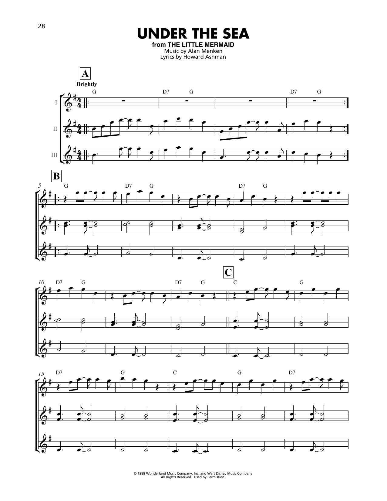 Alan Menken Under The Sea From The Little Mermaid Sheet Music Pdf Notes Chords Disney Score Violin Duet Download Printable Sku 417740