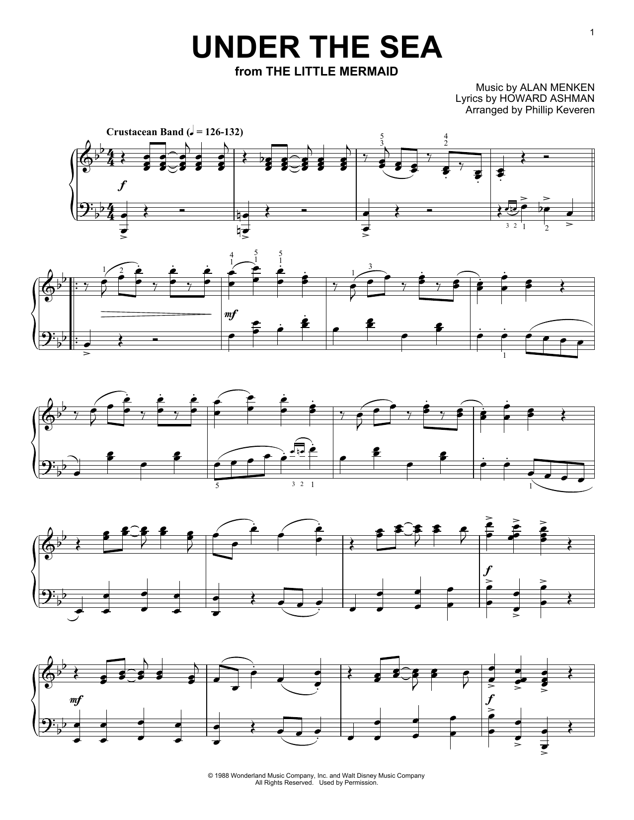 Alan Menken Under The Sea Ragtime Version From The Little Mermaid Arr Phillip Keveren Sheet Music Pdf Notes Chords Children Score Piano Solo Download Printable Sku 188839