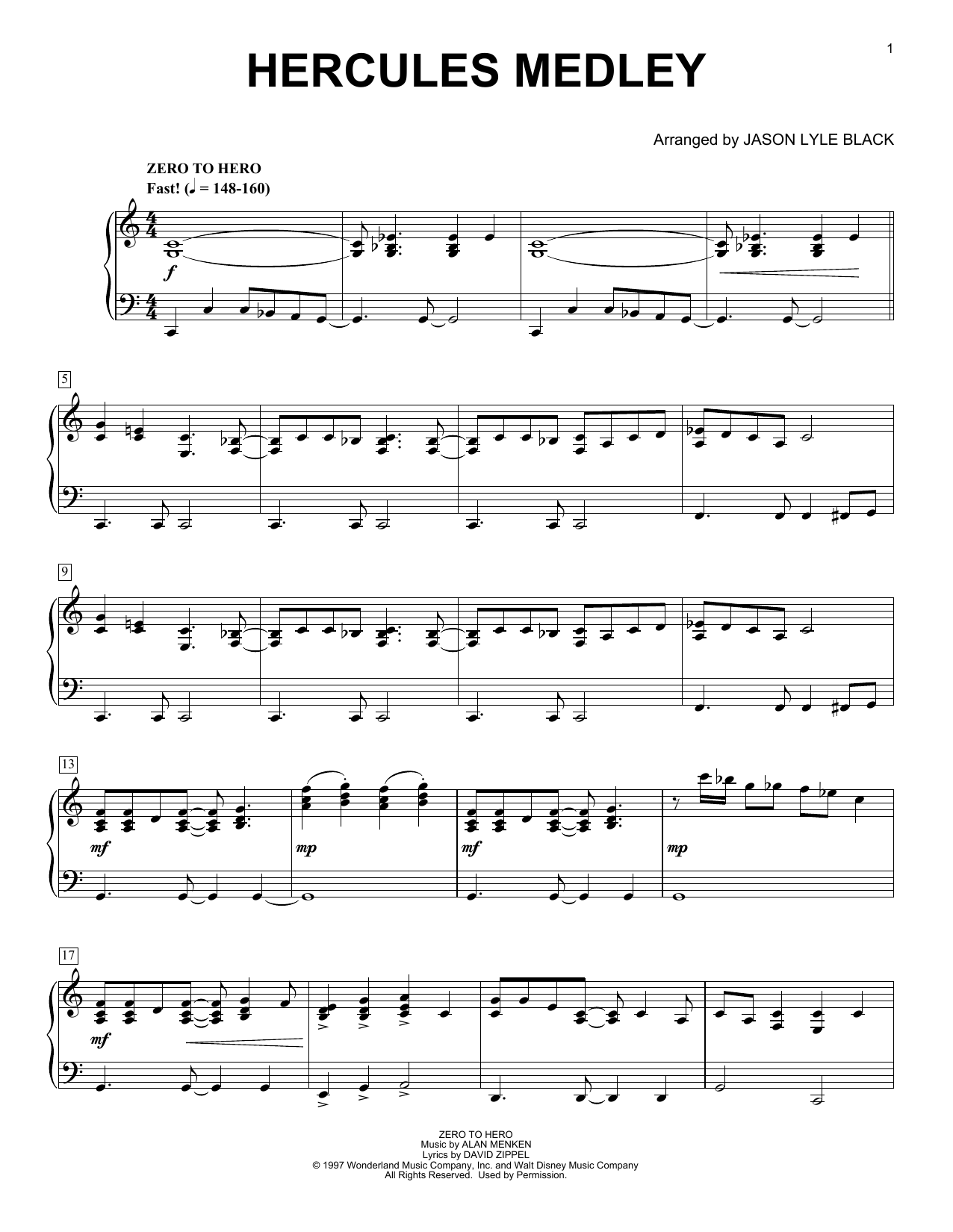 Alan Menken & David Zippel Hercules Medley (arr. Jason Lyle Black) sheet music notes and chords. Download Printable PDF.