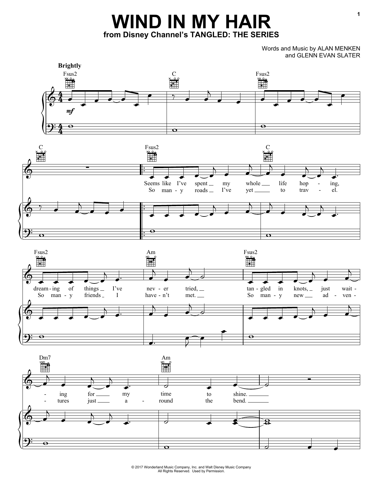Alan Menken Wind In My Hair (from Tangled: The Series) sheet music notes and chords. Download Printable PDF.