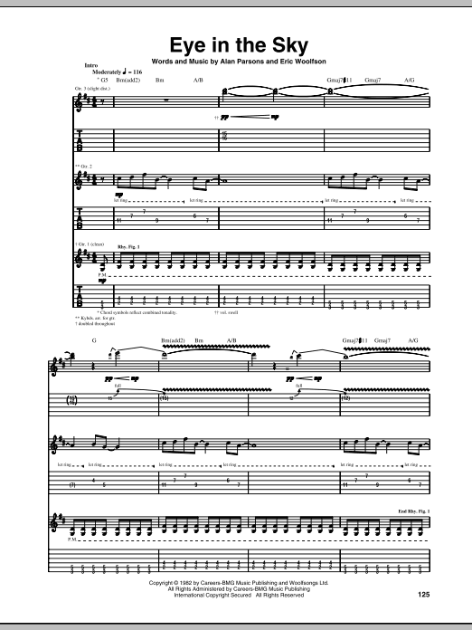 Alan Parsons Project Eye In The Sky sheet music notes and chords. Download Printable PDF.