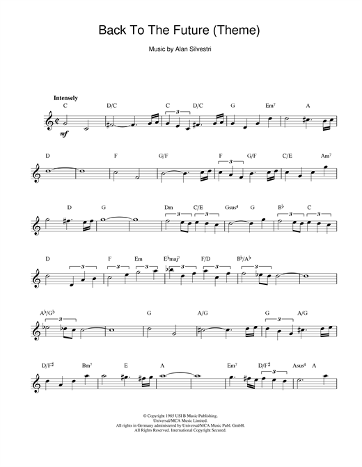 Alan Silvestri Back To The Future (Theme) sheet music notes and chords. Download Printable PDF.