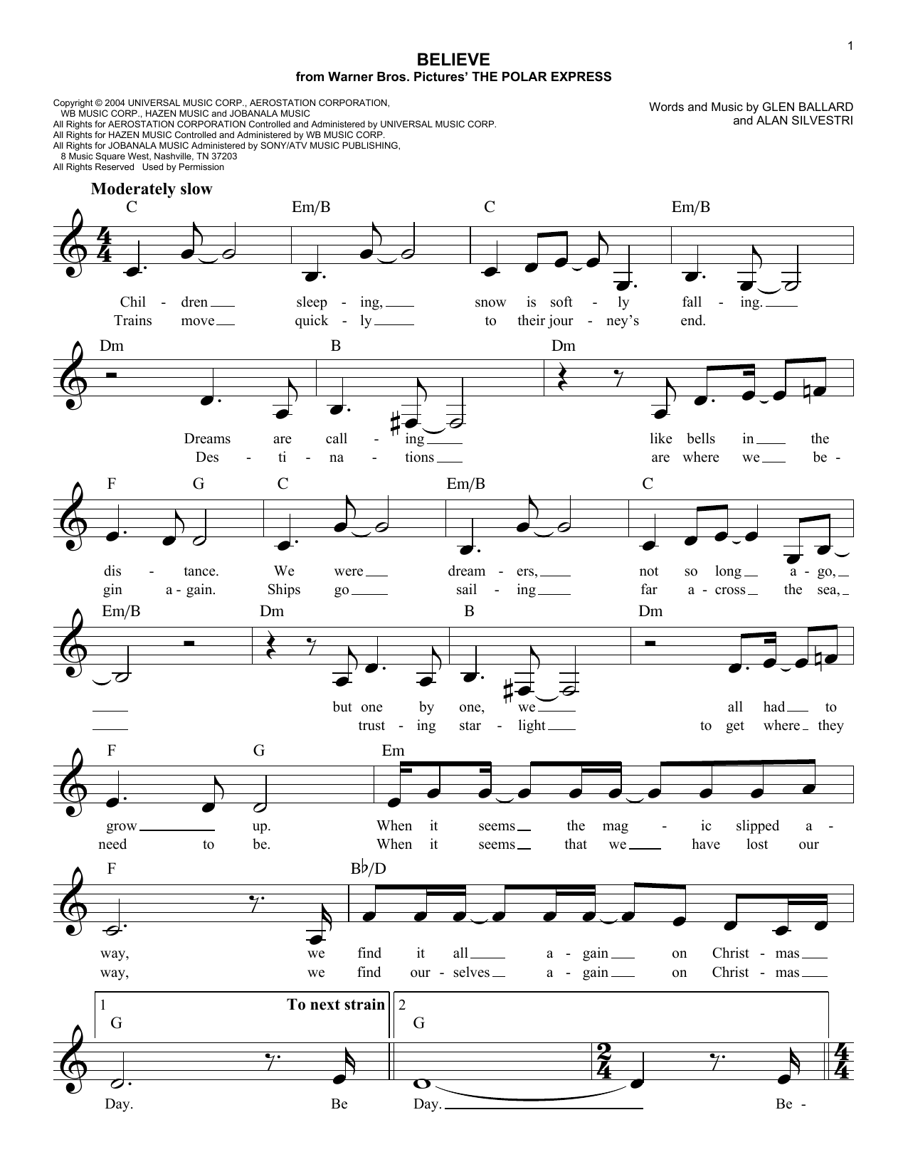Alan Silvestri Believe sheet music notes and chords. Download Printable PDF.