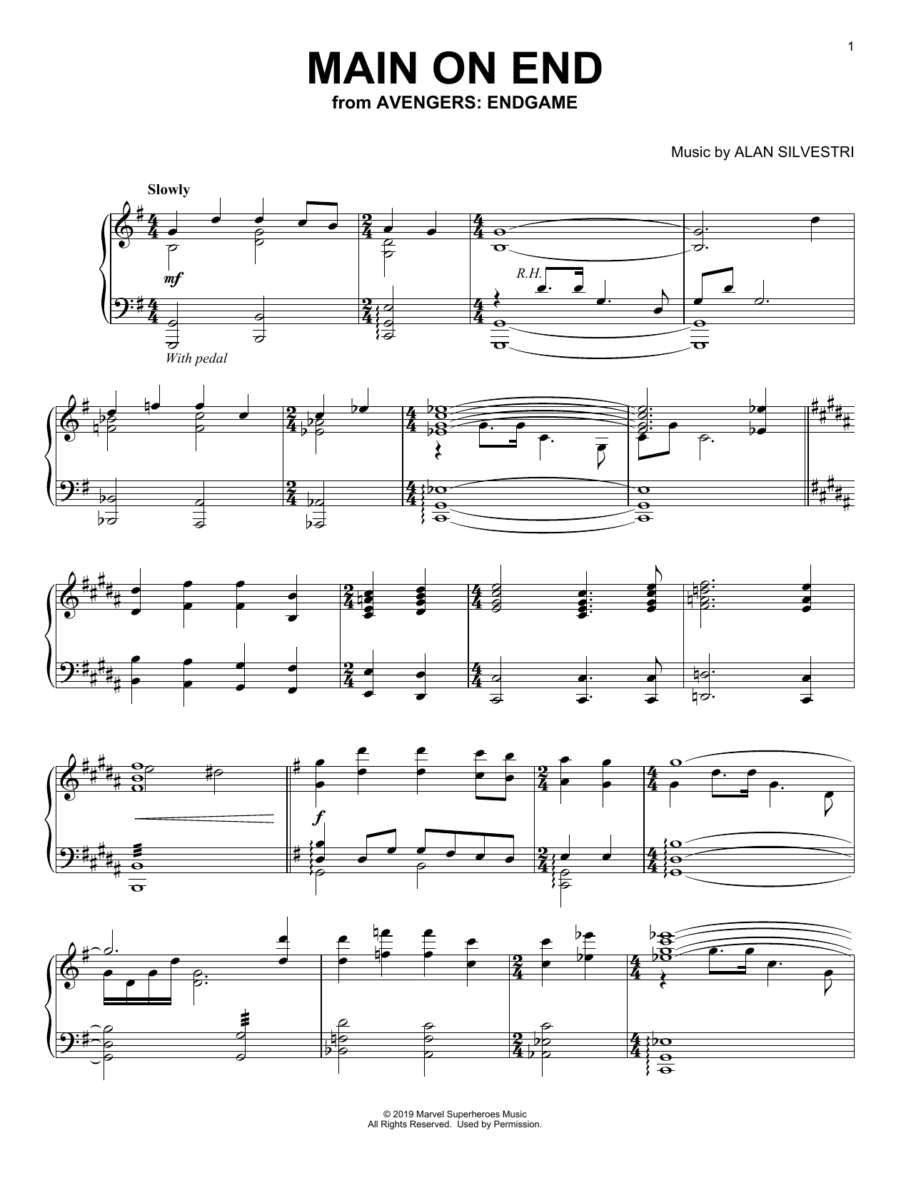 Alan Silvestri Main on End (from Avengers: Endgame) sheet music notes and chords. Download Printable PDF.