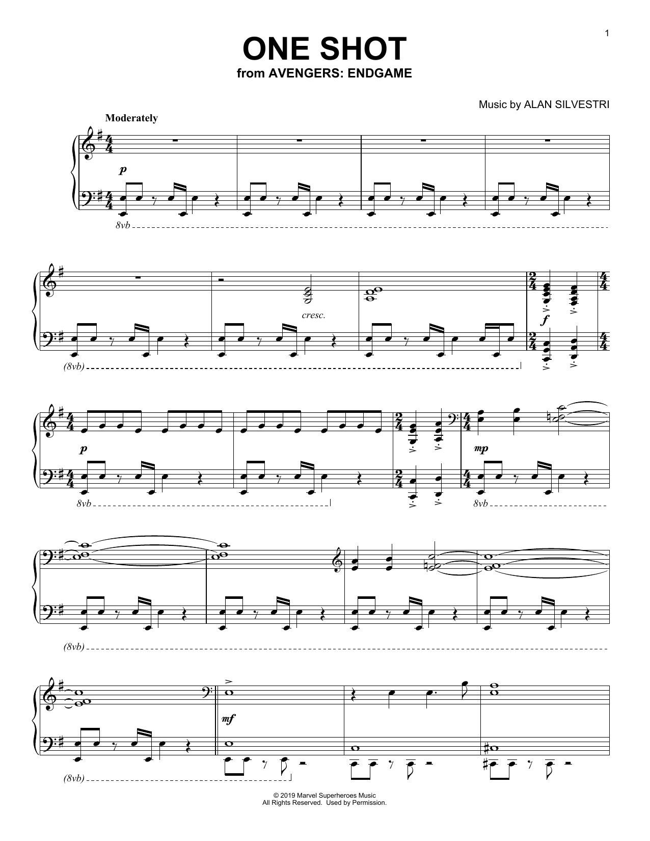Alan Silvestri One Shot (from Avengers: Endgame) sheet music notes and chords. Download Printable PDF.