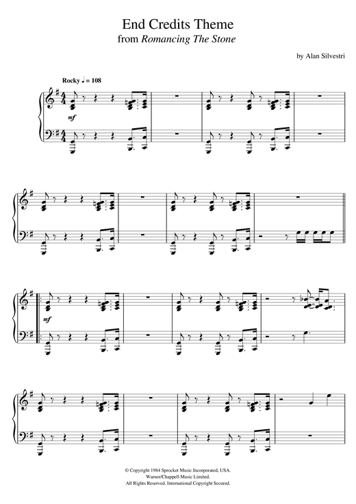 Alan Silvestri Romancing The Stone (End Credits Theme) sheet music notes and chords. Download Printable PDF.