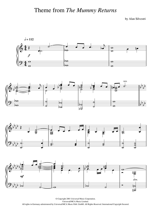 Alan Silvestri The Mummy Returns (The Mummy Returns) sheet music notes and chords. Download Printable PDF.