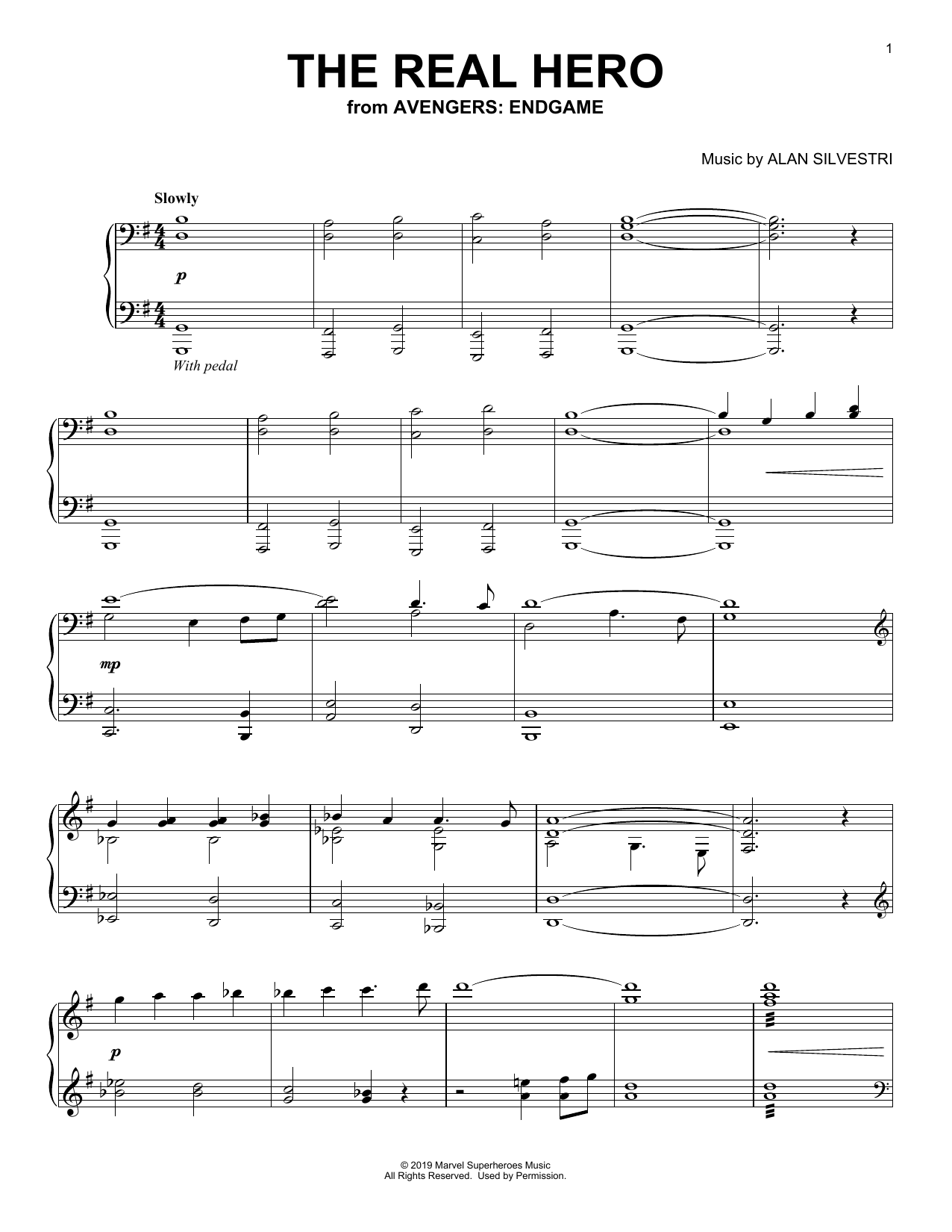 Alan Silvestri The Real Hero (from Avengers: Endgame) sheet music notes and chords