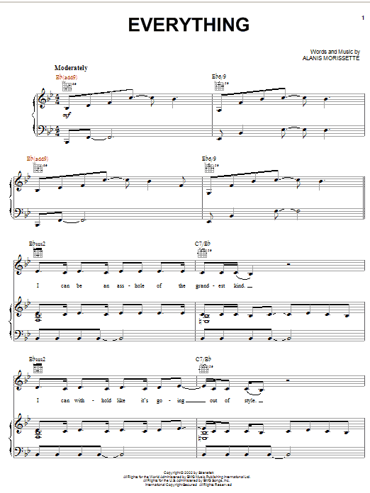 Alanis Morissette Everything sheet music notes and chords. Download Printable PDF.