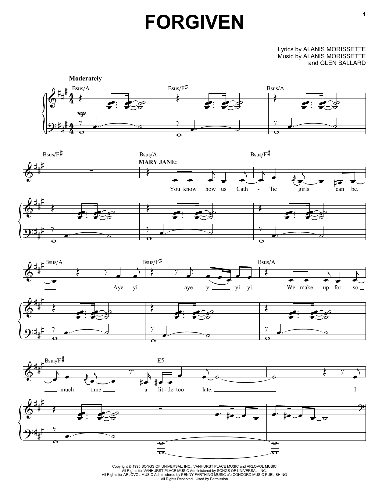 Alanis Morissette Forgiven (from Jagged Little Pill The Musical) sheet music notes and chords. Download Printable PDF.
