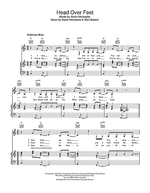 Alanis Morissette Head Over Feet sheet music notes and chords. Download Printable PDF.
