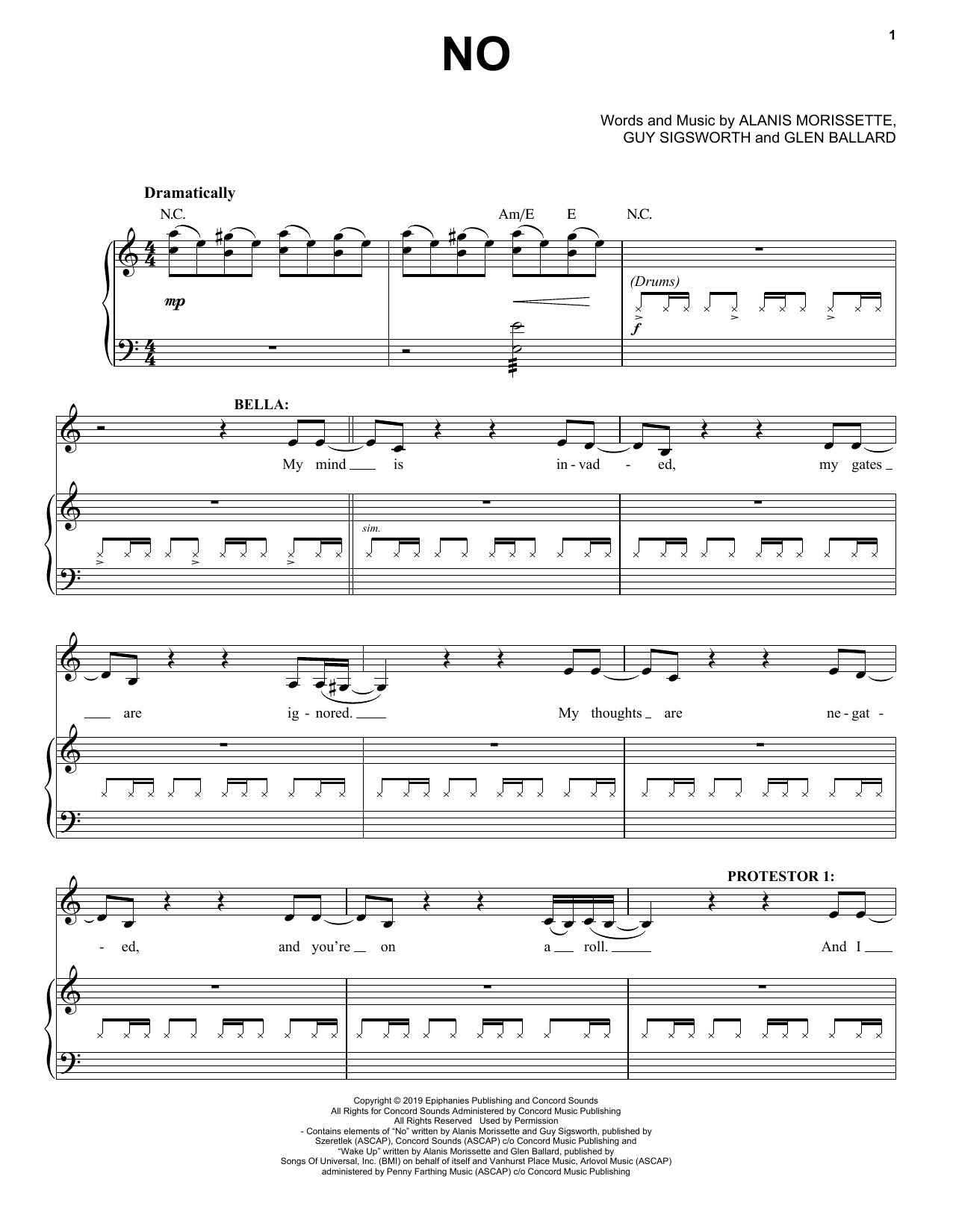 Alanis Morissette No (from Jagged Little Pill The Musical) sheet music notes and chords. Download Printable PDF.