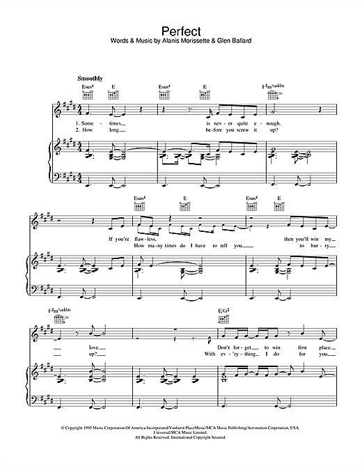 Alanis Morissette Perfect sheet music notes and chords. Download Printable PDF.