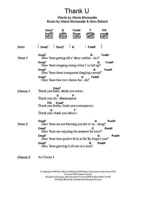 Alanis Morissette Thank U sheet music notes and chords. Download Printable PDF.