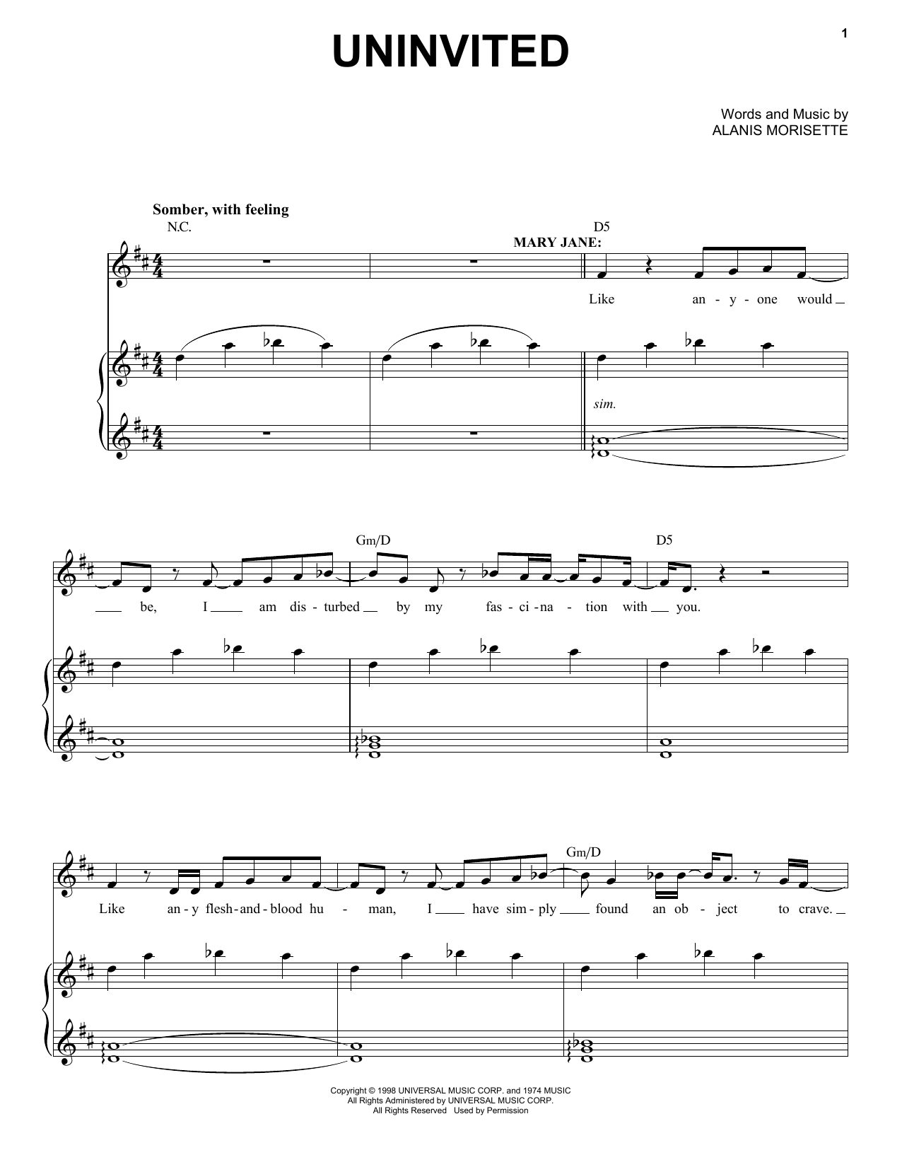 Alanis Morissette Uninvited (from Jagged Little Pill The Musical) sheet music notes and chords. Download Printable PDF.