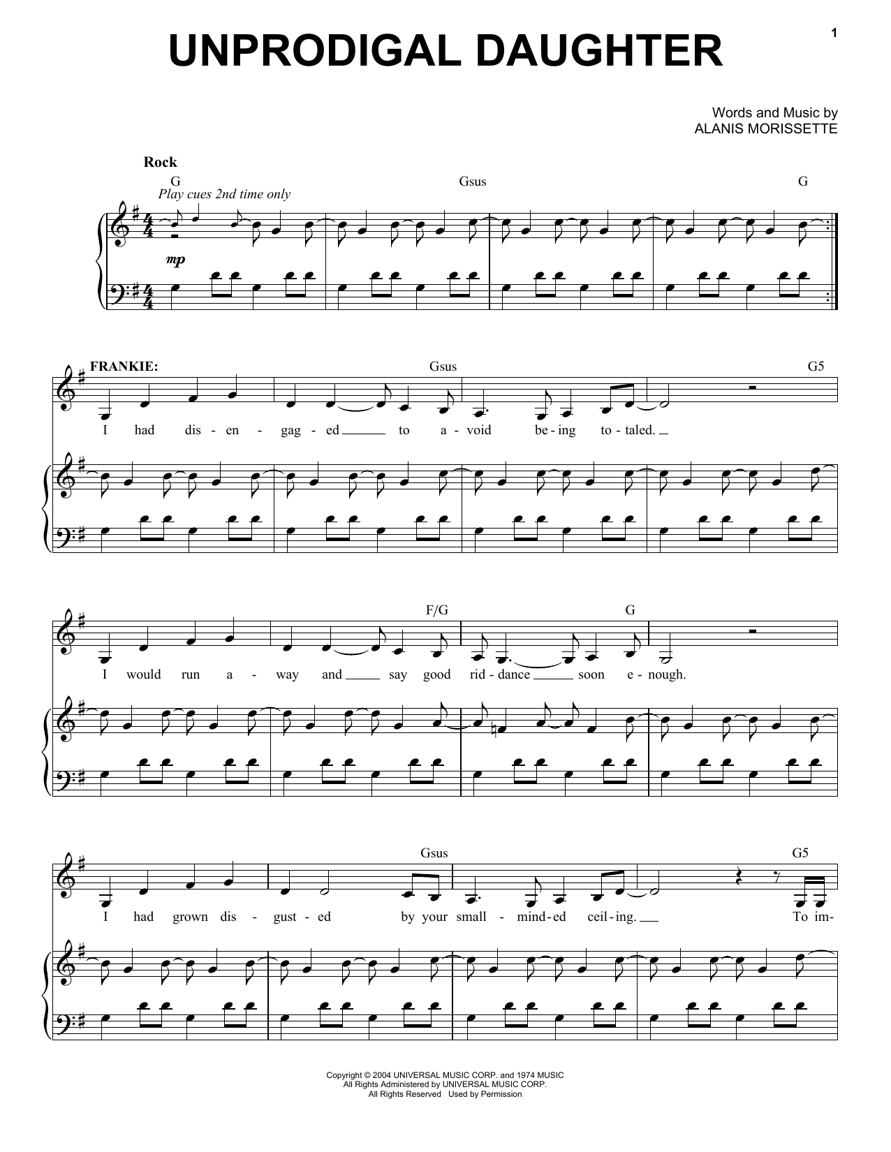 Alanis Morissette Unprodigal Daughter (from Jagged Little Pill The Musical) sheet music notes and chords. Download Printable PDF.