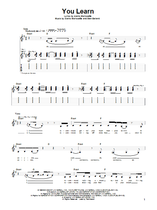 Alanis Morissette You Learn sheet music notes and chords. Download Printable PDF.