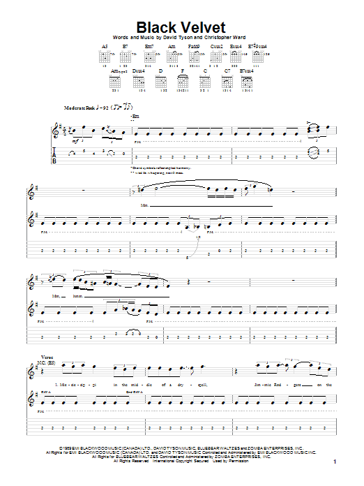 Alannah Myles Black Velvet sheet music notes and chords. Download Printable PDF.