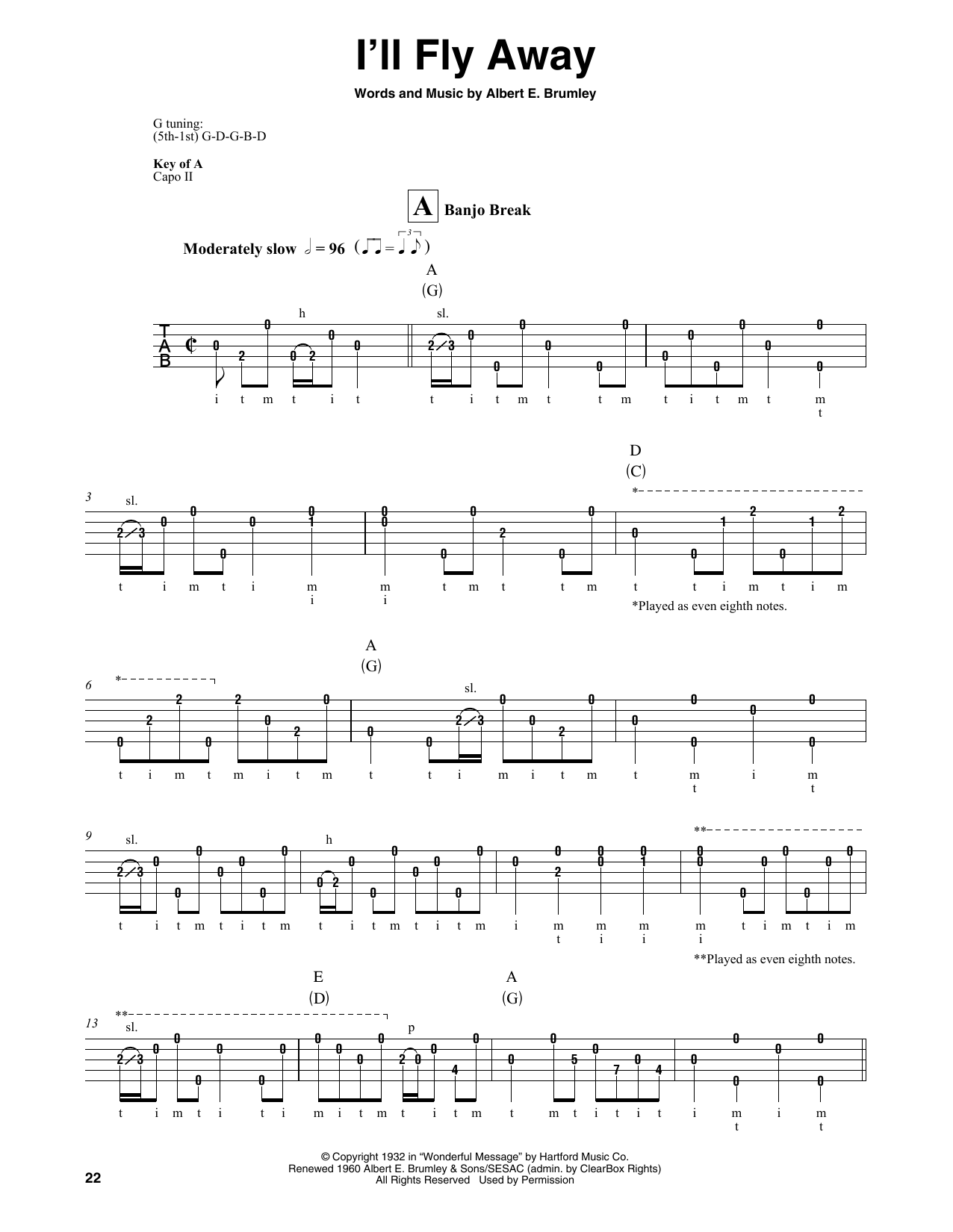 Albert E. Brumley I'll Fly Away sheet music notes and chords. Download Printable PDF.