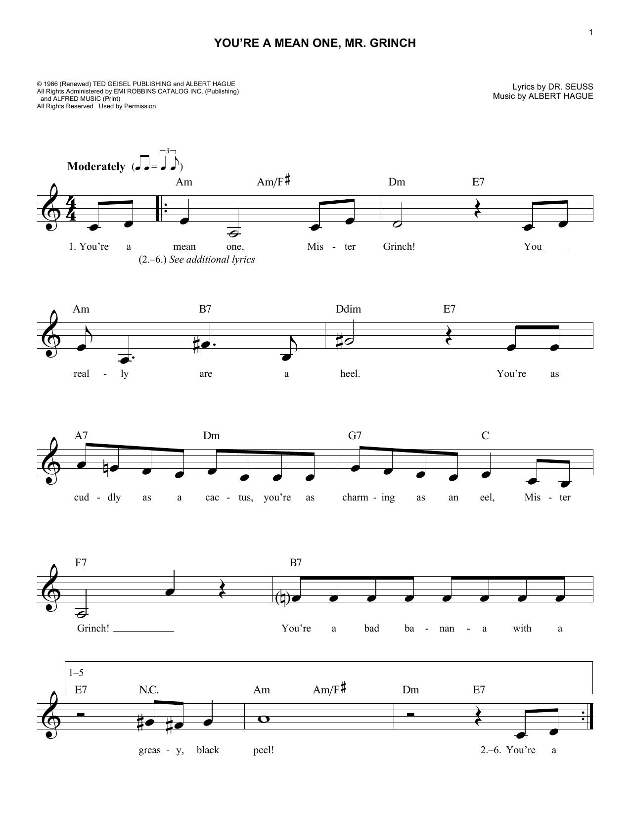 Albert Hague You're A Mean One, Mr. Grinch sheet music notes and chords. Download Printable PDF.