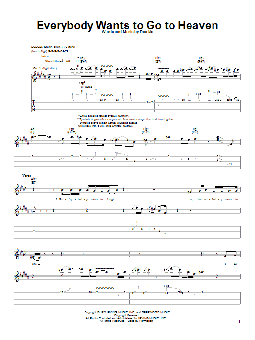 Albert King Everybody Wants To Go To Heaven sheet music notes and chords. Download Printable PDF.