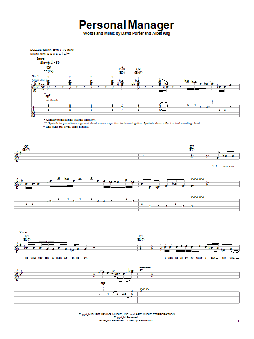 Albert King Personal Manager sheet music notes and chords. Download Printable PDF.