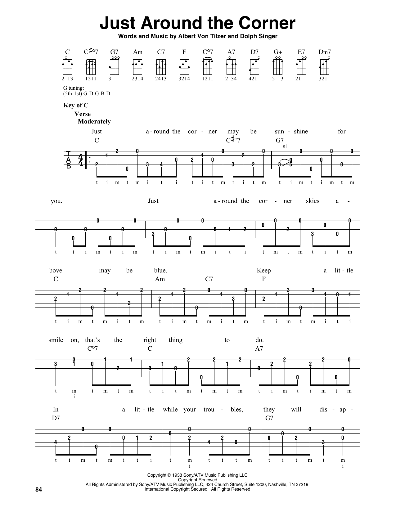 Albert Von Tilzer Just Around The Corner sheet music notes and chords. Download Printable PDF.