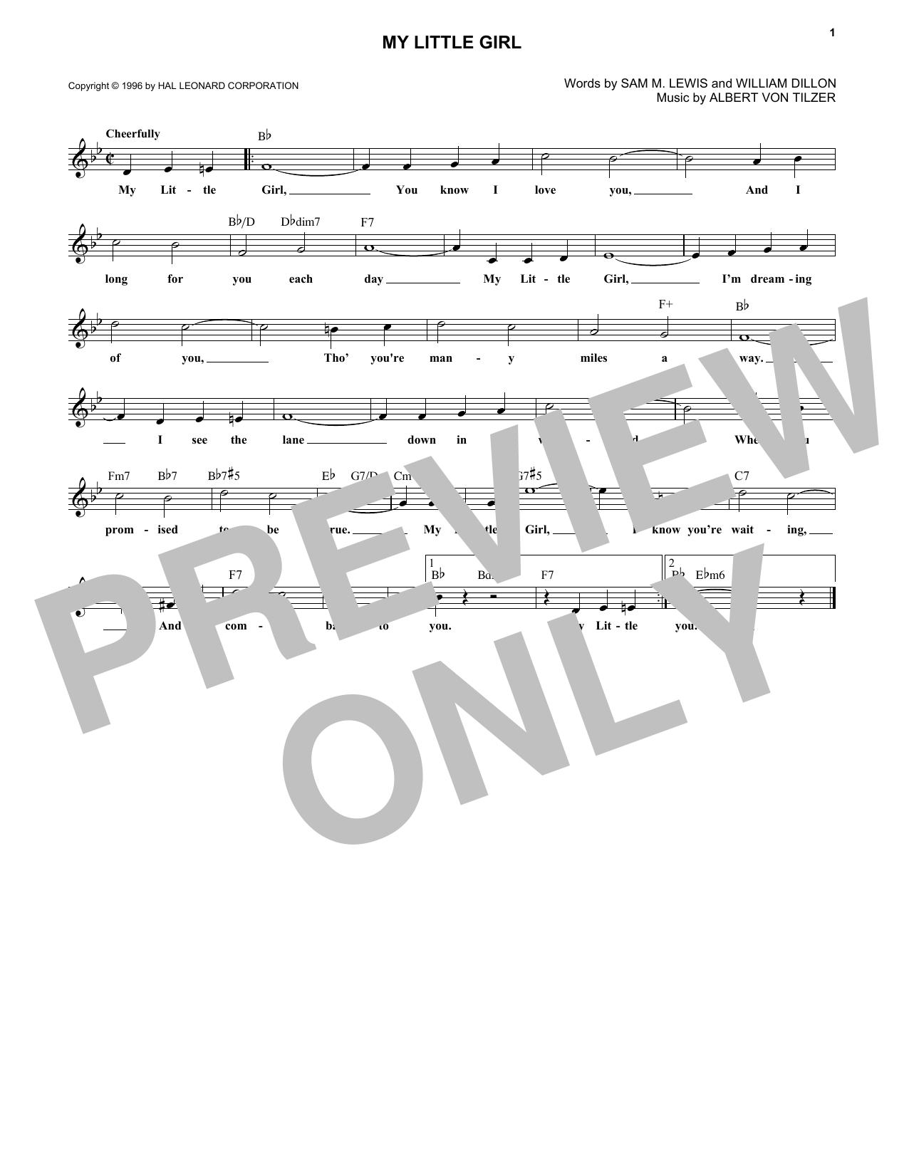 Albert von Tilzer My Little Girl sheet music notes and chords. Download Printable PDF.