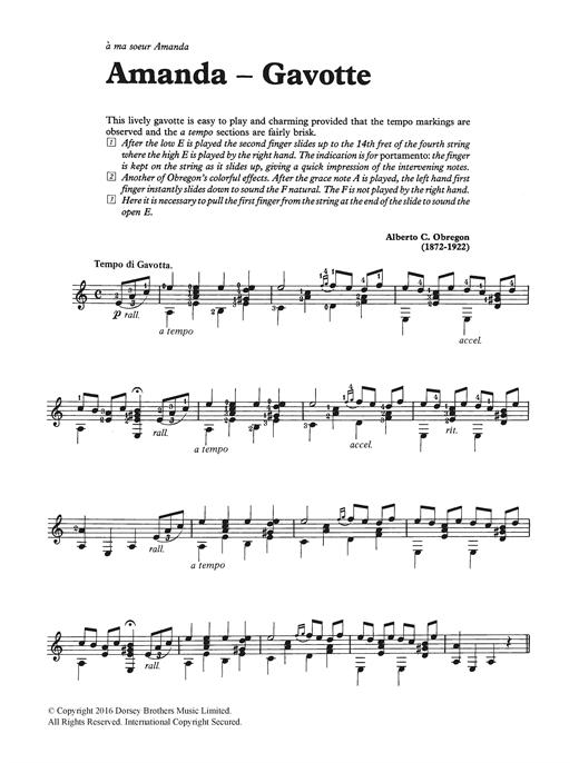 Alberto C. Obregon Amanda - Gavotte sheet music notes and chords. Download Printable PDF.