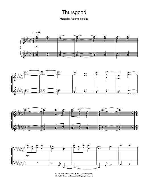 Alberto Iglesias Thursgood sheet music notes and chords
