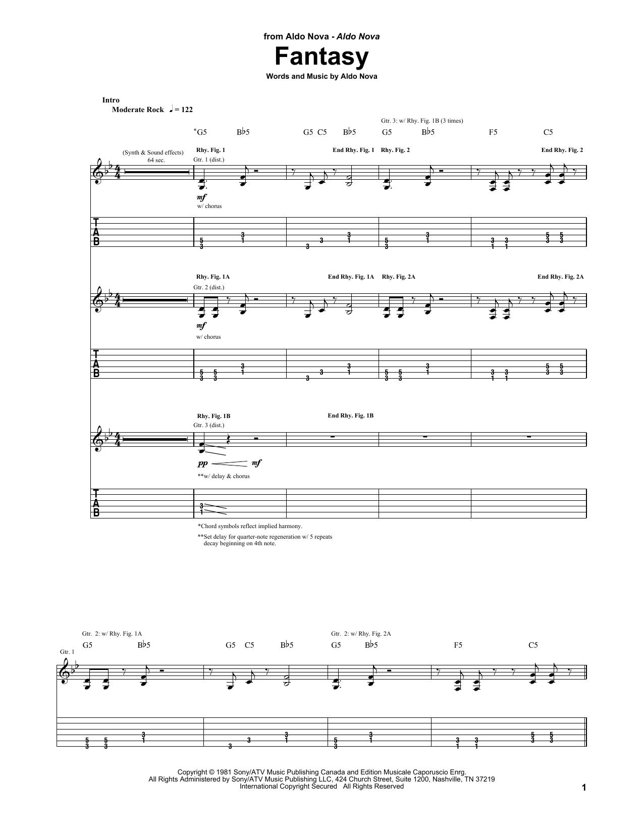 Aldo Nova Fantasy sheet music notes and chords. Download Printable PDF.