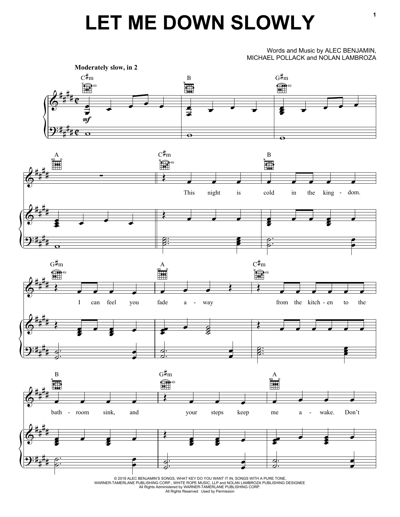 Alec Benjamin Let Me Down Slowly sheet music notes and chords. Download Printable PDF.