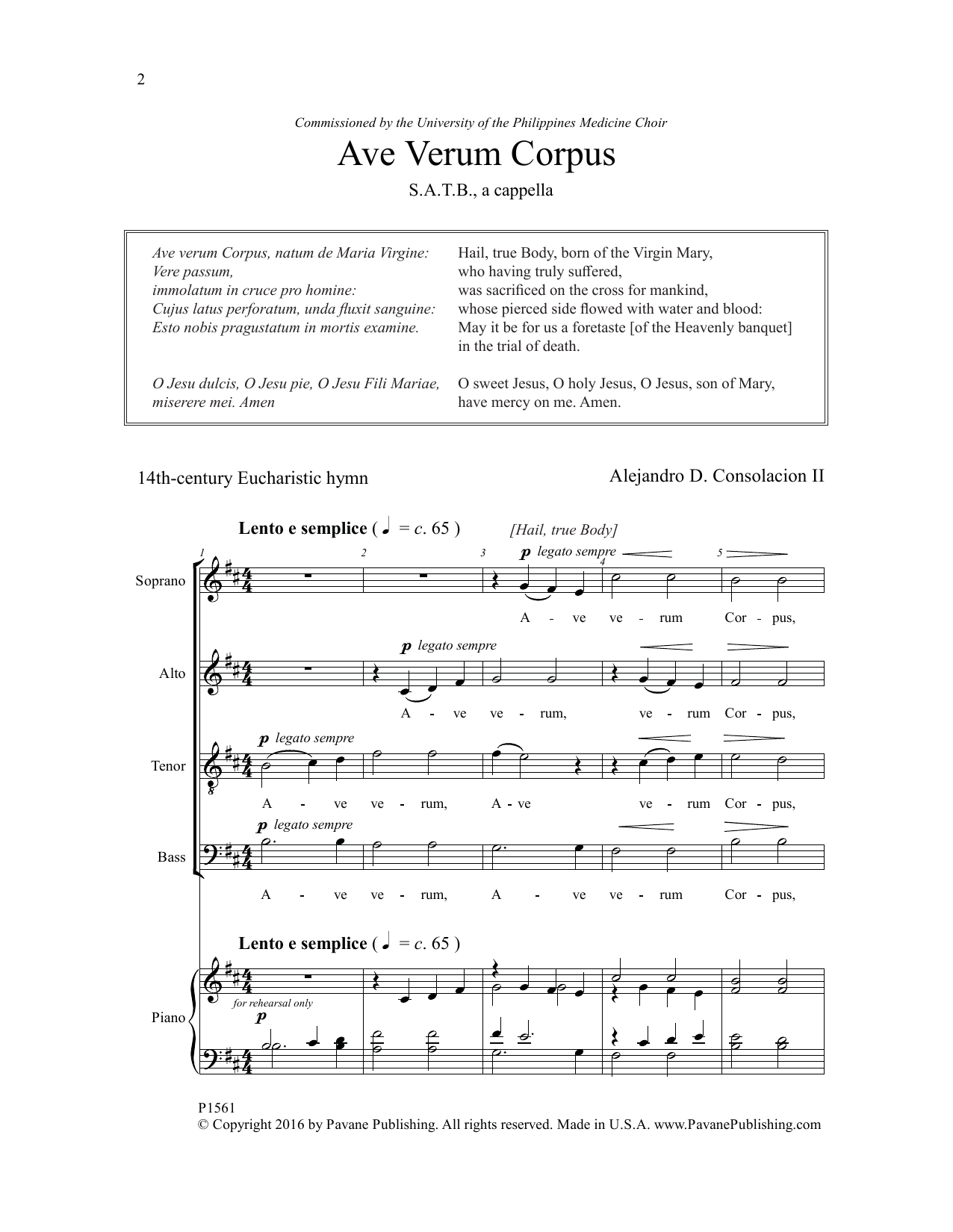 Alejandro Consolacion Ave Verum Corpus sheet music notes and chords. Download Printable PDF.