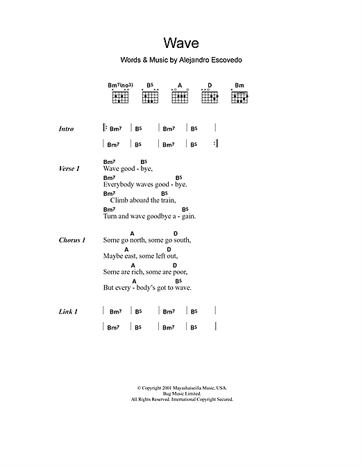 Alejandro Escovedo Wave sheet music notes and chords. Download Printable PDF.