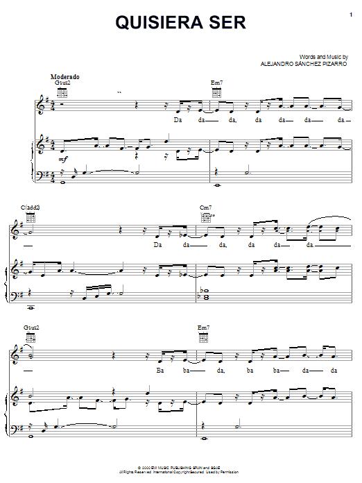 Alejandro Sanchez Pizarro Quisiera Ser sheet music notes and chords. Download Printable PDF.