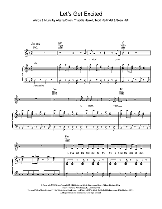 Alesha Dixon Let's Get Excited sheet music notes and chords. Download Printable PDF.