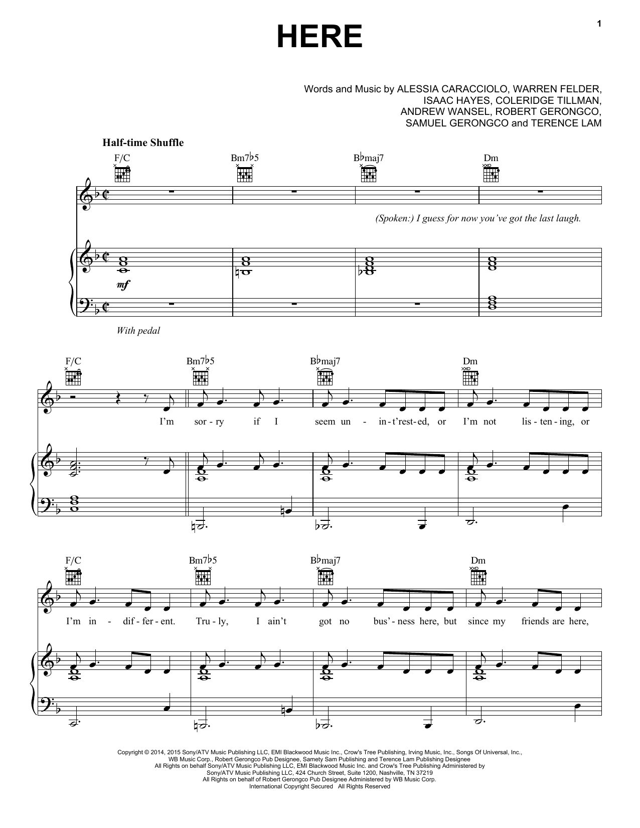 Alessia Cara Here sheet music notes and chords. Download Printable PDF.