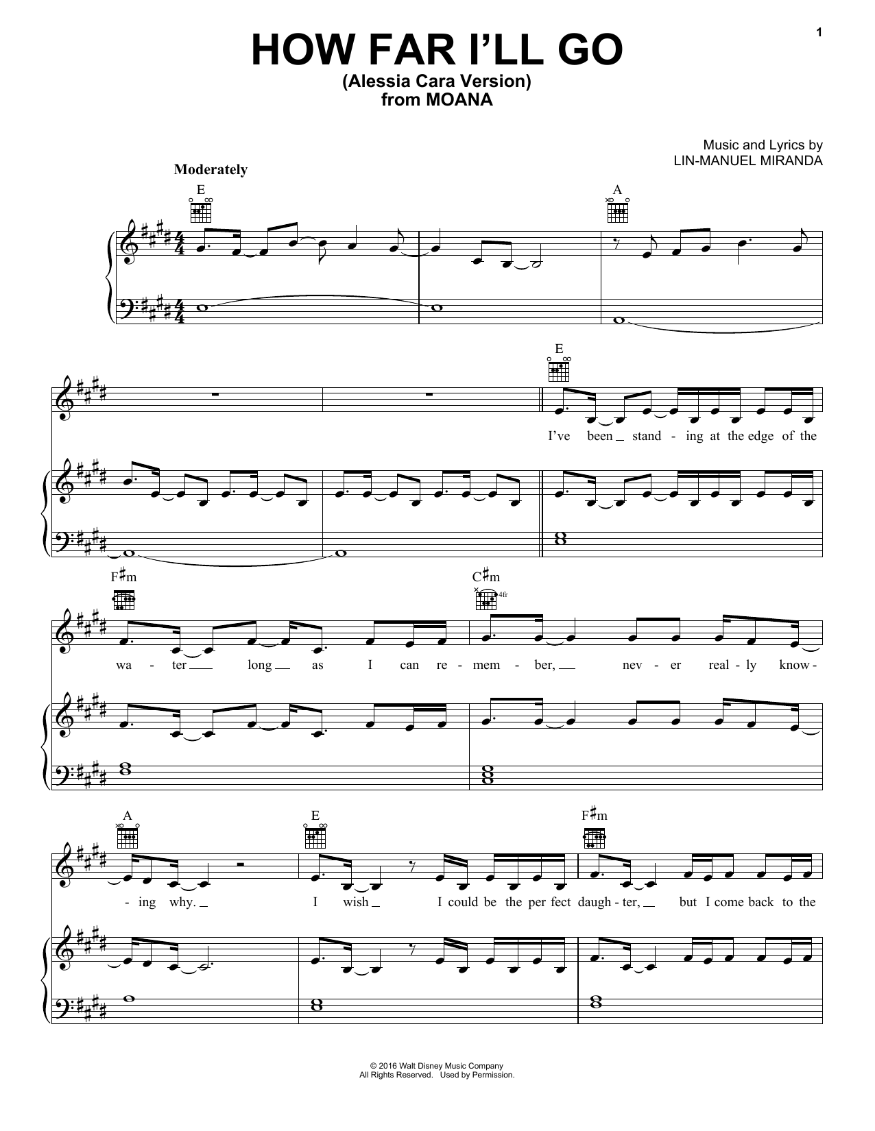 Alessia Cara How Far I'll Go (from Moana) sheet music notes and chords. Download Printable PDF.