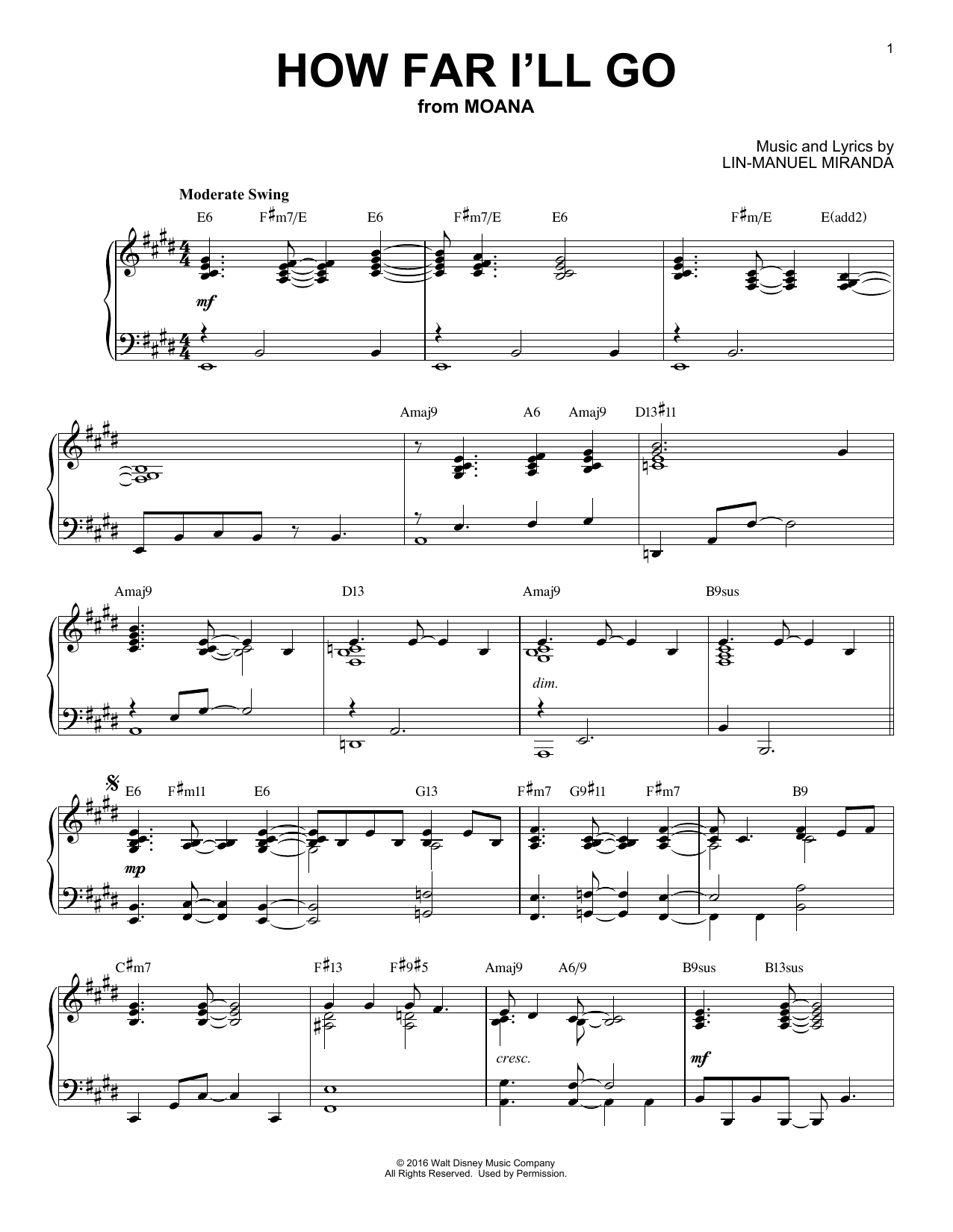 Alessia Cara How Far I'll Go [Jazz version] (from Disney's Moana) sheet music notes and chords. Download Printable PDF.