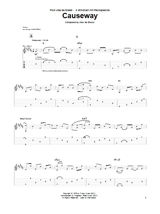 Alex De Grassi Causeway sheet music notes and chords. Download Printable PDF.