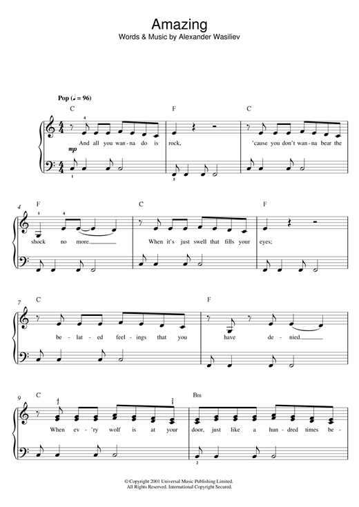 Alex Lloyd Amazing sheet music notes and chords. Download Printable PDF.